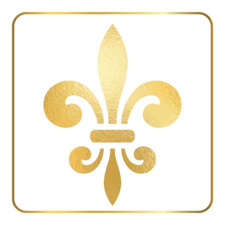 symbol fleur de lis: Golden fleur-de-lis heraldic emblem. Gold foil sign, isolated on white background. Design lily insignia element. Glowing french fleur de lis royal lily. Elegant decoration symbol. Vector Illustration.