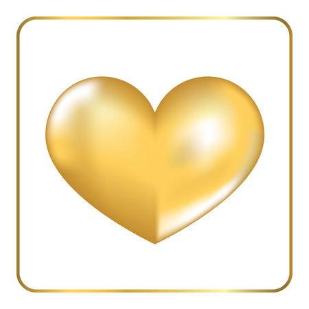 shiny metal: Gold heart 3D. Volume effect. Golden shiny metal shape, isolated on white background. Symbol happy love, wedding, romance. Romantic Valentine Day design template invitation, card. Vector Illustration.