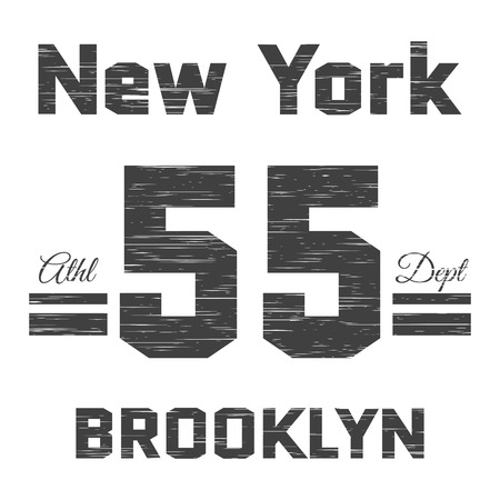 athletic type: T shirt typography graphic New York Brooklyn. Street graphic style NYC. Grunge fashion stylish print sports wear. Athletic department. Retro. Template apparel, card, label, poster. Vector illustration Illustration