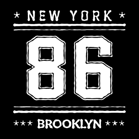 athletic wear: T shirt typography graphic New York Brooklyn. Street graphic style NYC. Grunge fashion stylish print for sports wear. Athletic college team. Template apparel, card, label, poster. Vector illustration. Illustration