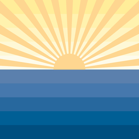 ocean sunset: Sun with rays and sea. Marine creative background. Blue and yellow landscape. Simple design. Symbol ocean, sunset, sunrise or tourism travel, vacation, summer. Flat design concept. Vector illustration