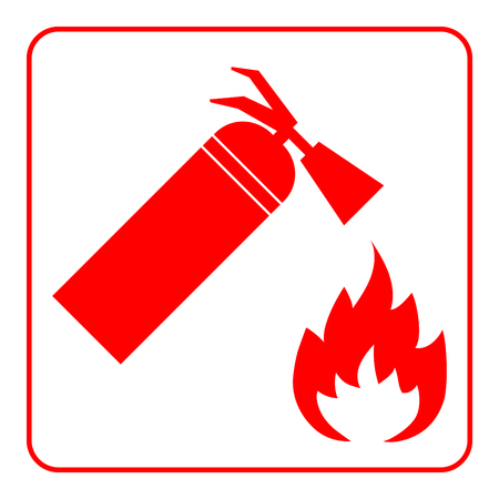 firefighting: Fire extinguisher icon with flame. Extinguishing sign. Symbol of safety, security, protection and emergency, danger, alert, firefighting. Red element, isolated on white background. Vector illustration