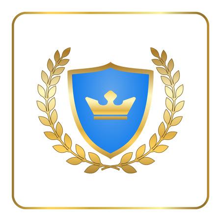 Scudo icona corona di alloro in oro con corona. emblema araldico. disegno segno Decorazione. Insignia per banner. Simbolo del premio. elemento grafico isolato su sfondo bianco. segno Premium illustrazione vettoriale