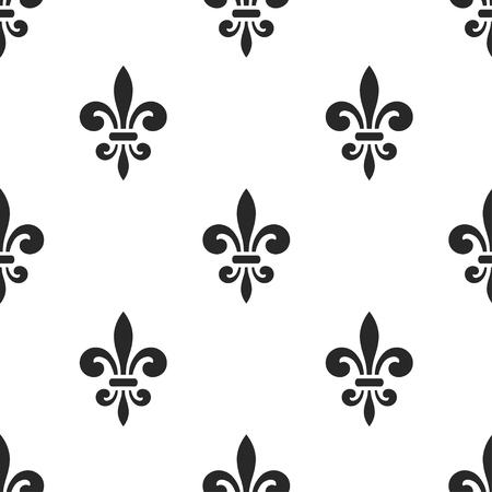 royal french lily symbols: Golden fleur-de-lis seamless pattern. Black white template. Floral classic texture. Fleur de lis royal lily retro background. Design vintage for card, wallpaper, wrapping, textile. Vector Illustration