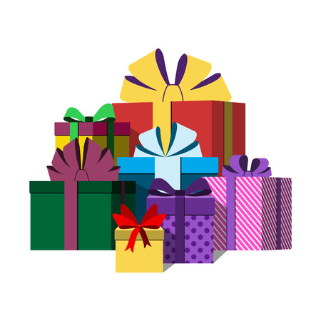 big boxes: Big pile of colorful wrapped gift boxes. Lots of presents. Flat style. Christmas surprises, ribbons and bow isolated on white background. Symbol birthday, anniversary, celebration. Vector illustration