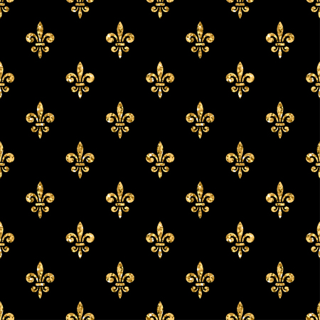 Golden fleur-de-lis seamless pattern. Gold glitter and black template. Floral texture. Glowing fleur de lis royal lily. Design vintage for card, wallpaper, wrapping, textile, etc. Vector Illustration. Ilustração