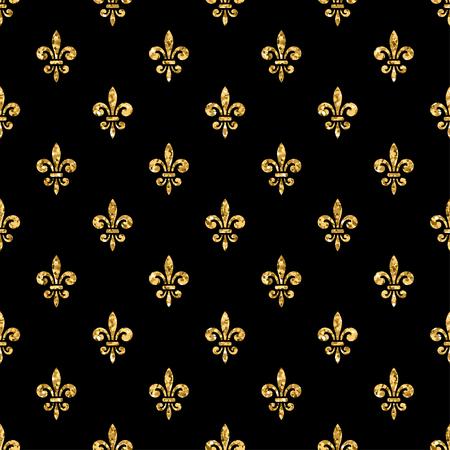 Golden fleur-de-lis seamless pattern. Gold glitter and black template. Floral texture. Glowing fleur de lis royal lily. Design vintage for card, wallpaper, wrapping, textile, etc. Vector Illustration. Illustration