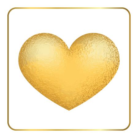 gold heart: Gold heart 3D. Golden foil metal sign shape isolated on white background. Grunge texture. Symbol love, romantic. Valentine Day vintage concept. Design element. Template decoration. Vector Illustration