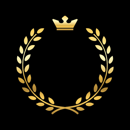 laurel leaf: Gold laurel wreath, with crown. Golden leaf emblem. Vintage design, isolated on black background. Decoration for insignia, banner award. Symbol of triumph, sport victory, trophy. Vector illustration.
