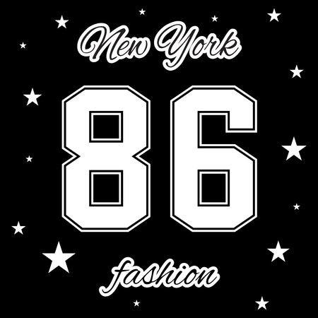 sports team: T shirt typography graphic New York. Athletic style NYC. Grunge fashion stylish print for sports wear. College girl team. Cute template apparel, card, label, poster. Symbol varsity Vector illustration