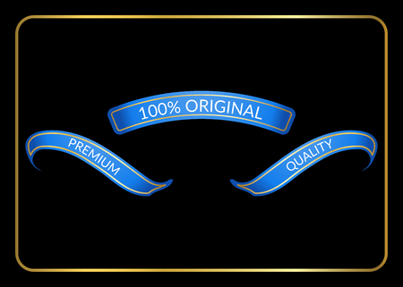curle: Ribbon banners set. Sign blank for promotion, web, advertising text. Collection retro design decoration elements. Blue templates. Symbol vintage label isolated on black background. Vector illustration