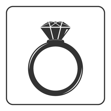 engagement silhouette: Diamond engagement ring icon. Crystal sign. Black circle silhouette isolated on white background. Flat fashion design element. Symbol of engagement, gift, jewel,luxury, expensive. Vector Illustration.