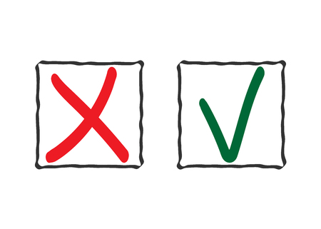 tick symbol: Check mark icons. Tick and cross red, green signs in frames, isolated on white background. Symbol vote, survey, exam, question. Right or wrong choice. Ok or No web design element. Vector illustration.