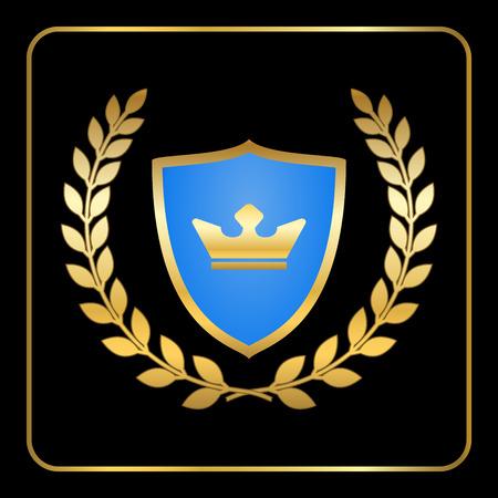 Scudo icona corona di alloro in oro con corona. emblema araldico. disegno segno Decorazione. Insignia per banner. Simbolo del premio. elemento grafico isolato su sfondo nero. segno Premium illustrazione vettoriale