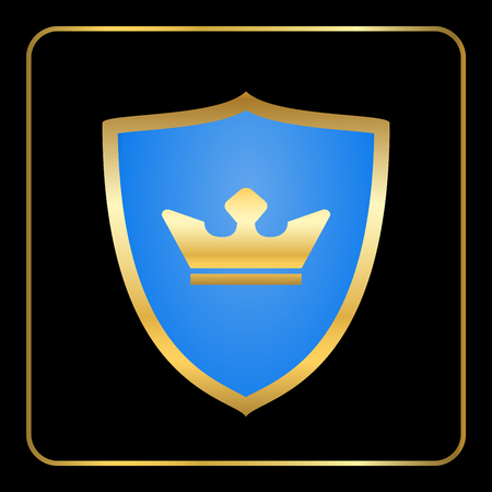 Shield Gold Icon With Crown Emblem Princess Queen Luxury King