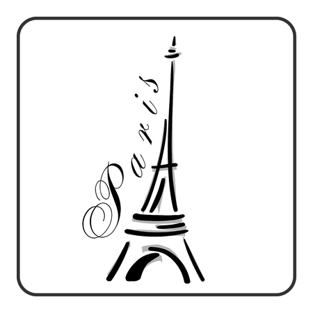 eifel: Eiffel Tower in a simple sketch style. Big famous symbol of Paris, France, romantic, love. Doodle french art. Landmark architecture hand draw. Isolated contour on white background. Vector illustration