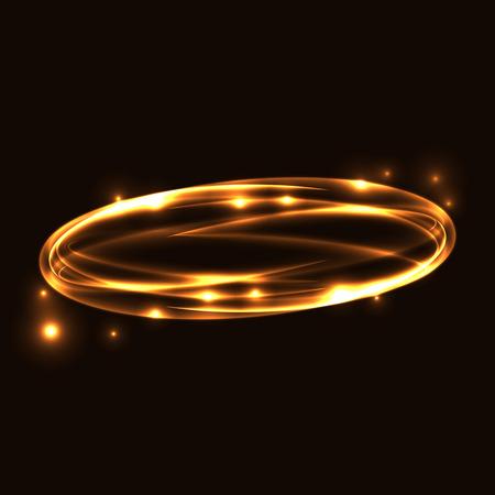 Oro trazado del círculo de luz. Resplandeciente magia traza anillo de fuego. Sparkle efecto de estela de turbulencia sobre fondo negro. Bokeh brillo línea de elipse ronda con el vuelo de las luces de destello brillantes. Ilustración del vector.