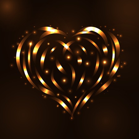 light trail: Gold heart light tracing effect. Glowing magic fire trace. Sparkle swirl trail, on black background. Glitter lines, flying sparkling flash lights. Symbol of love, Valentine day Vector illustration Illustration