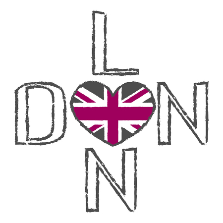 la ciudad de Londres de la tipografía de gráficos. corazón de la bandera británica símbolo de fondo. impresión de la manera de la ropa de deportes de diseño. desgaste original. estilo vintage camiseta para la producción de impresión. Grunge ilustración vectorial