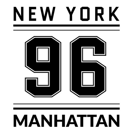 varsity: T shirt typography graphic New York city Manhattan. Graphic style NYC. Fashion stylish prints sports wear. Emblem american varsity or college team. Template apparel, card, poster. Vector illustration.
