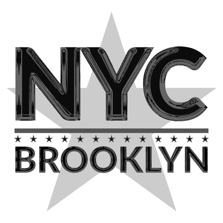 big star: T shirt typography graphic New York city Brooklyn. Style NYC with big star. Fashion stylish print for sport wear Emblem american college team. Template apparel, card, label, poster Vector illustration