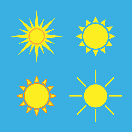 sunbeams: Sun icons set. Collection light yellow signs with sunbeam. Design elements, isolated on blue background. Symbol of sunrise, heat, sunny and sunset, morning, sunlight. Flat style. Vector Illustration. Illustration