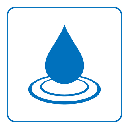 waterdrop: Water drop icon with wave. Blue natural sign isolated on white background. Creative flat design element. Shape waterdrop. Symbol of nature, liquid, droplet or cold, aqua, rain etc. Vector illustration