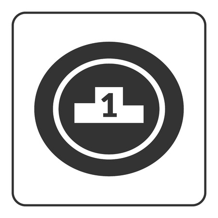 second prize: Winner podium icon. Prize pedestal. First, second, third place award champion or winner. Flat design symbol of platform, competition, victory. Black sign isolated white background. Vector illustration Illustration
