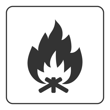 flame background: Fire campfire icon. Hot bonfire sign. Black firewood and flame silhouette, isolated on white background. Drawing graphic element. Symbol of camp, heat, energy. Flat design concept. Vector illustration