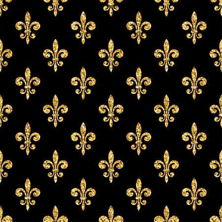 Golden fleur-de-lis seamless pattern. Gold glitter and black template. Floral texture. Glowing fleur de lis royal lily. Design vintage for card, wallpaper, wrapping, textile, etc. Vector Illustration. Illusztráció
