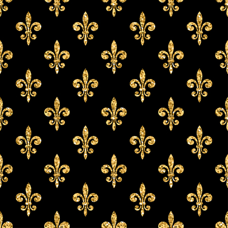 Golden fleur-de-lis seamless pattern. Gold glitter and black template. Floral texture. Glowing fleur de lis royal lily. Design vintage for card, wallpaper, wrapping, textile, etc. Vector Illustration. Illustration