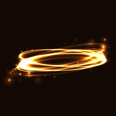 Gold circle light tracing effect. Glowing magic fire ring trace. Sparkle swirl trail on black background. Bokeh glitter round ellipse line with flying sparkling flash lights. Vector illustration.
