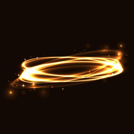 Círculo de color marrón claro efecto de rastreo. Resplandeciente magia traza anillo de fuego. rastro remolino de la chispa en el fondo negro. Bokeh brillo línea de elipse ronda con el vuelo de las luces de destello brillantes. Ilustración del vector. Foto de archivo - 56914505
