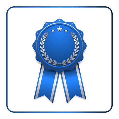 sumbol: Ribbon award icon. Blue badge isolated on white background. Medal design element. Label emblem. Blank certificate, winner, decoration. Sumbol first, victory success, the best, win. Vector illustration