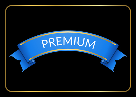 curle: Blue ribbon banner. Sign blank for promotion, web, advertising text etc. Retro design decoration element. Flag stripe template. Symbol vintage label, isolated on black background. Vector illustration.