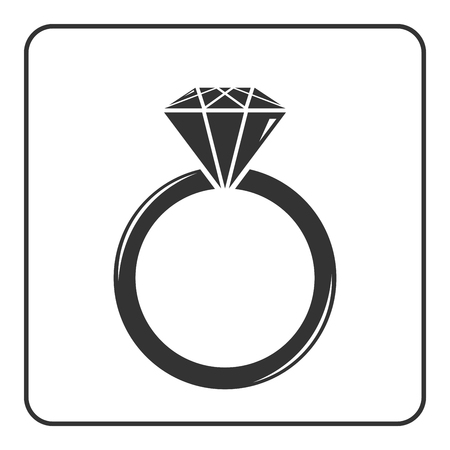 is expensive: Diamond engagement ring icon. Crystal sign. Black circle silhouette isolated on white background. Flat fashion design element. Symbol of engagement, gift, jewel,luxury, expensive. Vector Illustration.
