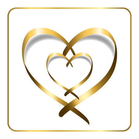 golden ribbon: Gold ribbon double heart. Golden silhouette, isolated on white background. Symbol happy love, romantic, wedding. Valentine Day design template for banner, invitation, card, poster. Vector Illustration