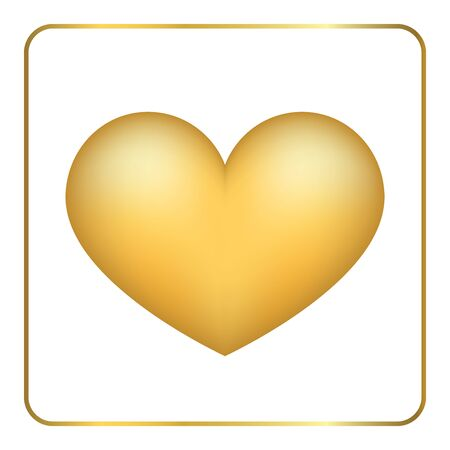 frosted: Gold heart 3D. Volume effect. Golden foil frosted metal shape, isolated on white background. Symbol love, wedding, romance. Romantic Valentine Day design template invitation, card. Vector Illustration Illustration