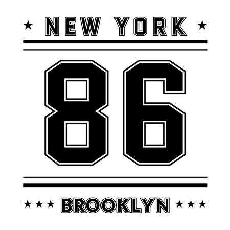 brooklyn: T shirt typography graphic New York city Brooklyn. Street graphic style NYC. Fashion stylish print sports wear. College emblem sign. Retro. Template apparel, card, label, poster. Vector illustration.