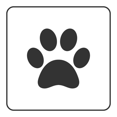 puppy and kitten: Pets paw icon. Animal sign. Black silhouette mark print isolated on white background. Symbol of dog, puppy or cat, kitten, kitty. Modern graphic design element. Flat concept label. Vector illustration