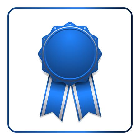 Icône de récompense de ruban. Insigne bleu, isolé sur fond blanc. Élément de conception de la médaille. Emblème de l'étiquette. Certificat vierge, gagnant ou prix, décoration. Symbole d'abord, succès de la victoire, victoire. Illustration vectorielle Vecteurs