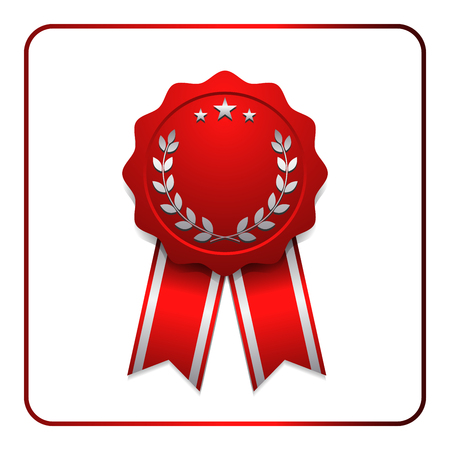 sumbol: Ribbon award icon. Red badge, isolated on white background. Medal design element. Label emblem. Blank certificate, winner or prize, decoration. Sumbol first, victory success, win. Vector illustration