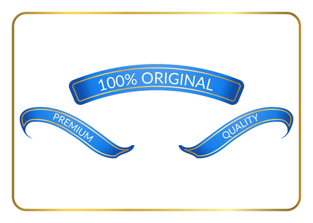 curle: Ribbon banners set. Sign blank for promotion, web, advertising text. Collection retro design decoration elements. Blue templates. Symbol vintage label isolated on white background. Vector illustration