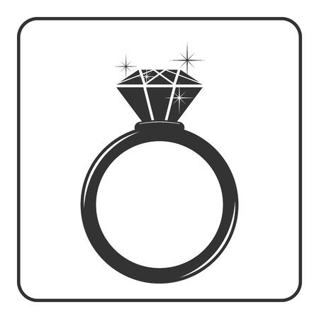 Diamentowa ikona pierścionek zaręczynowy. Błyszczące blask kryształu znak. Czarne koło sylwetka na białym tle Płaski mody projektowania elementu. Zaangażowanie Symbol, prezent, klejnot kosztowne ilustracji wektorowych