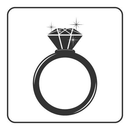 Diamond engagement ring icon. Shiny sparkle crystal sign. Black circle silhouette isolated on white background Flat fashion design element. Symbol engagement, gift, jewel expensive Vector Illustration Ilustracja