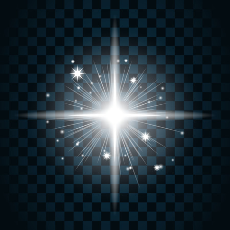 scintillation: Shine star with glitter and sparkle icon. Effect twinkle, glare, glowing, graphic light sign. Transparent glow design element on dark background. Template bright flash decoration. Vector illustration. Illustration