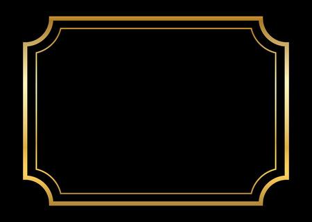 Goldrahmen. Schöne einfache goldenen Entwurf. Vintage-Stil dekorative Grenze, isoliert auf schwarzem Hintergrund. Deco elegante Kunstobjekt. Leere Kopie Raum für die Dekoration, Foto, Banner. Vektor-Illustration. Standard-Bild - 57077851