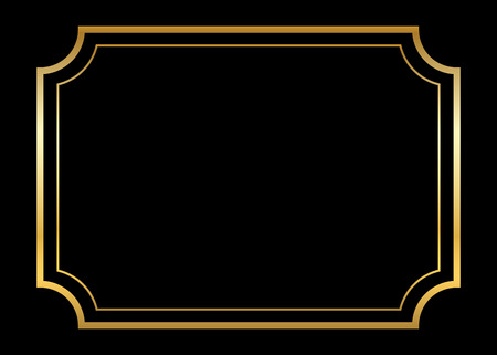 Gold frame. Beautiful simple golden design. Vintage style decorative border, isolated on black background. Deco elegant art object. Empty copy space for decoration, photo, banner. Vector illustration. Vectores