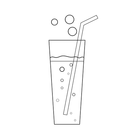 aerated: Glass soda icon. Fizzy liquid with bubbles and piece of straw. Black sign, isolated on white background. Effervescent drink. Symbol fast food, cocktail, lemonade,  mineral water. Vector illustration.