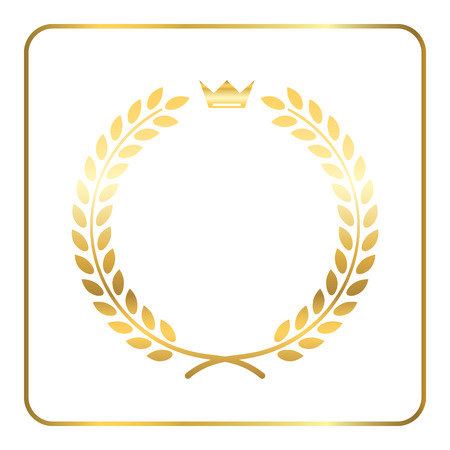 Gold laurel wreath, with crown. Golden leaf emblem. Vintage design, isolated on white background. Decoration for insignia, banner award. Symbol of triumph, sport victory, trophy. Vector illustration. 免版税图像 - 57080140